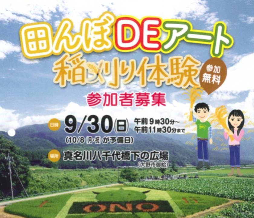 2018 田んぼDEアート 稲刈り体験(大野市)
